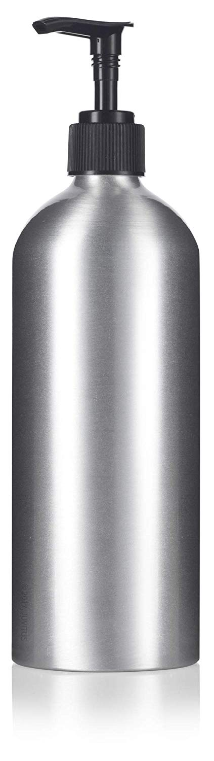 Metal Aluminum Bottle in Silver with Black Lotion Pump - 16 oz / 500 ml