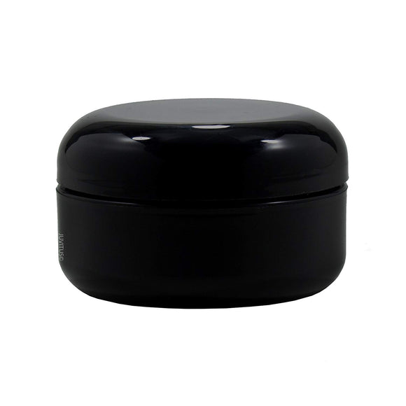 Plastic Double Wall Low Profile Round Jar in Black with Black Dome Foam Lined Lid - 2 oz / 60 ml