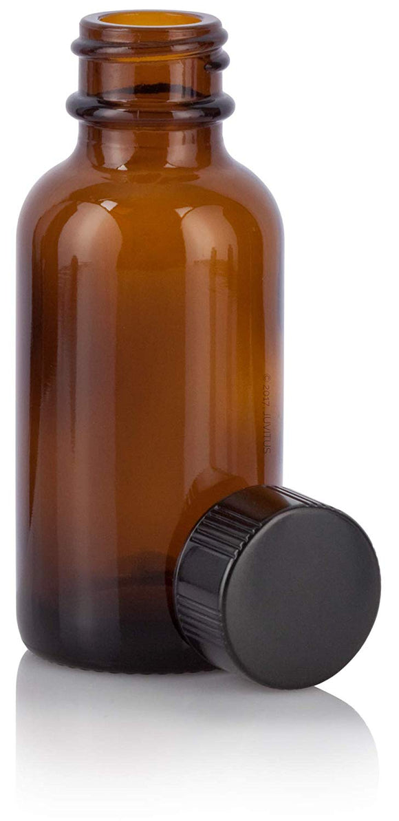 Glass Boston Round Bottle in Amber with Black Phenolic Cap - 1 oz / 30 ml
