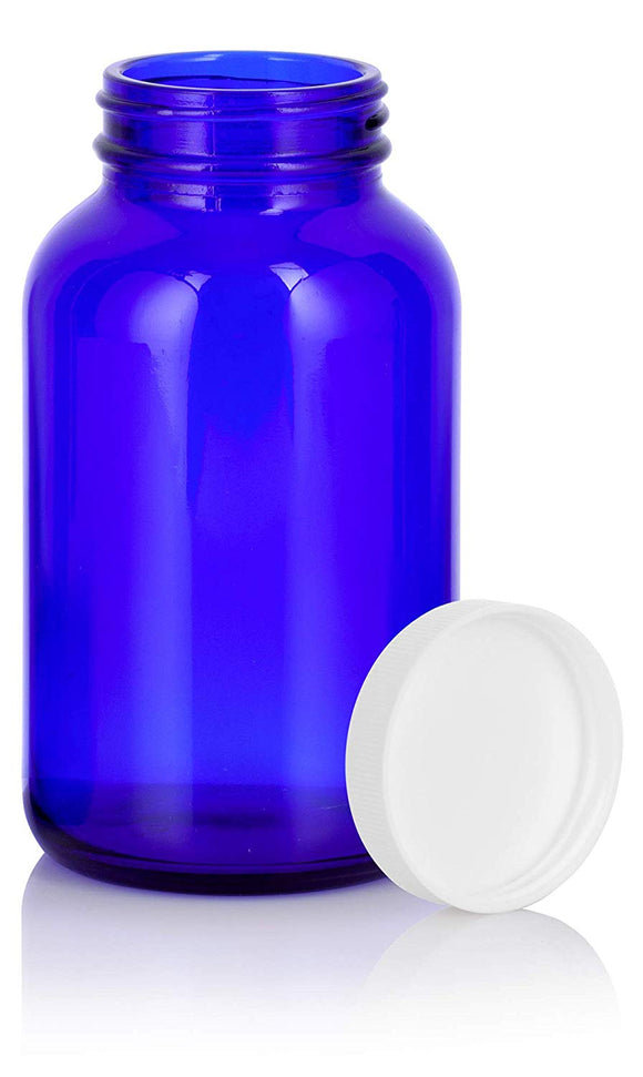 Cobalt Blue Glass Packer Bottle with White Ribbed Lid - 8 oz / 250 ml