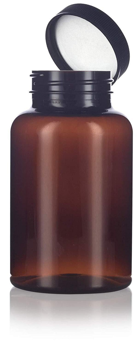 Amber Plastic Wide Mouth Packer Bottle with Black Ribbed Lid - 8 oz / 250 ml
