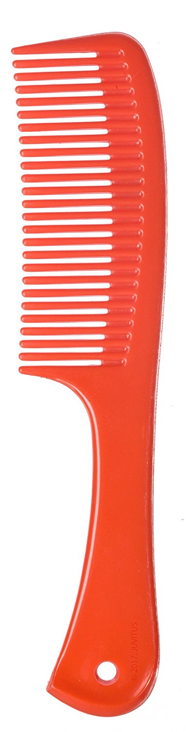 Red Plastic Wide Comb with Handle