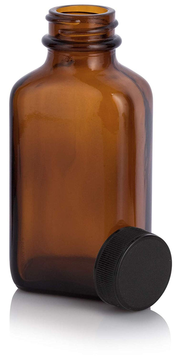 Amber Glass Rectangle Bottle with Black Screw On Cap - 3 oz / 90 ml