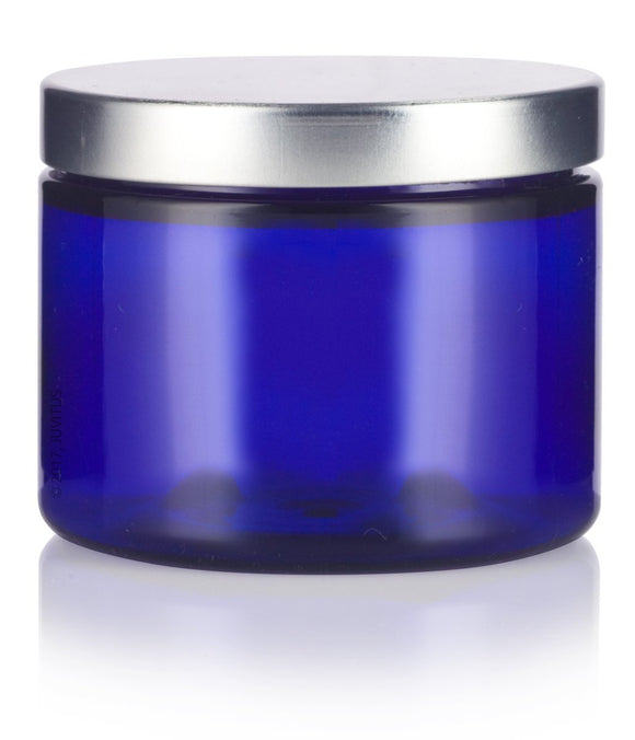 Plastic Low Profile Jar in Cobalt Blue with Silver Metal Foam Lined Lid - 6 oz / 180 ml