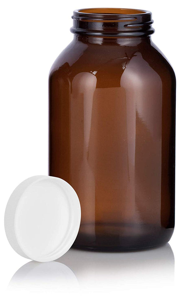 Amber Glass Packer Bottle with White Ribbed Lid - 17 oz / 500 ml