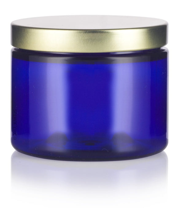 Cobalt Blue PET Plastic (BPA Free) Refillable Low Profile Jar with Gold Metal Lid - 6 oz + Spatulas and Labels