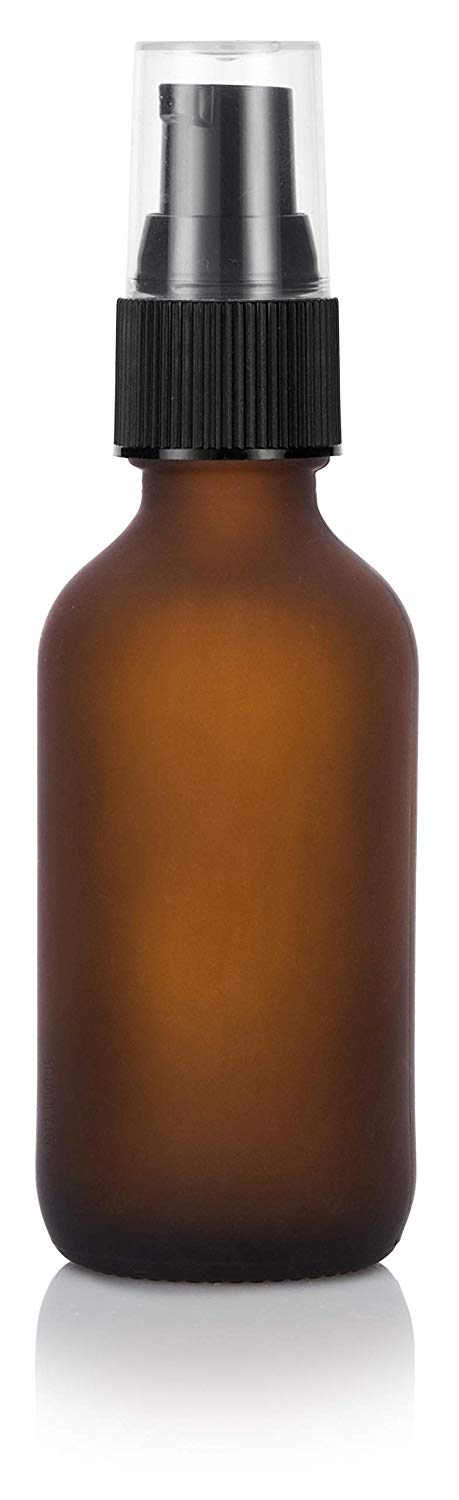 Frosted Amber Glass Boston Round Treatment Pump Bottle with Black Top - 2 oz / 60 ml - JUVITUS