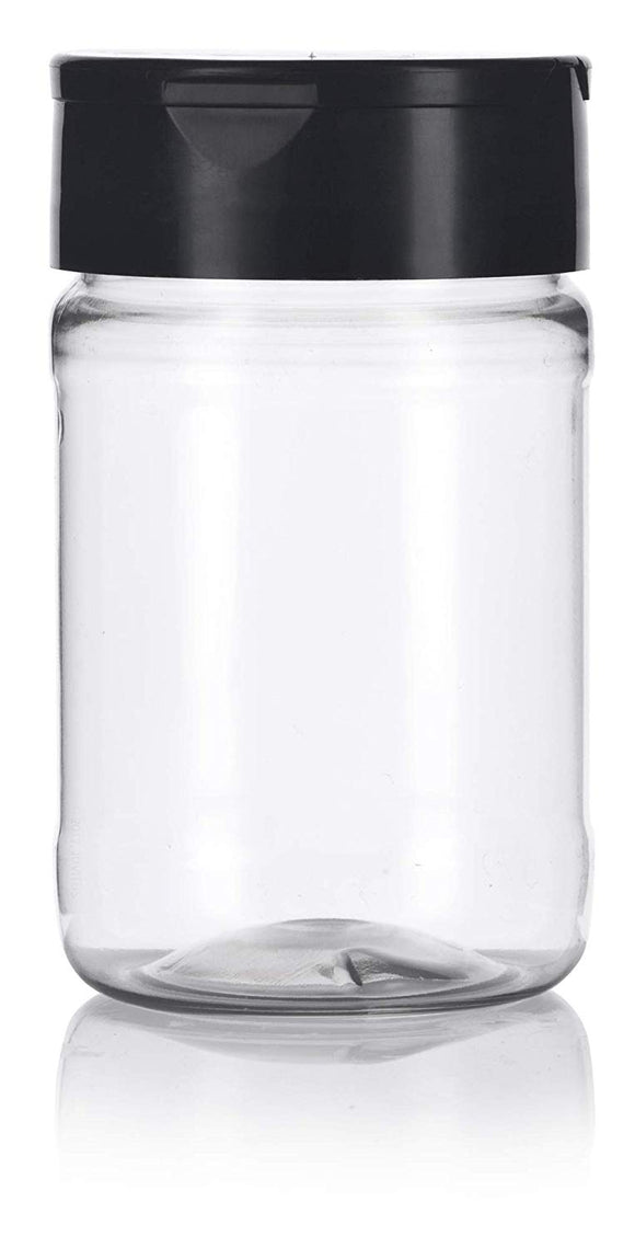 6 oz/ 170 grams Clear PET Spice Bottle with Black Sifter (3 pack) + Labels, for spices, salts, powders, and any siftable products.