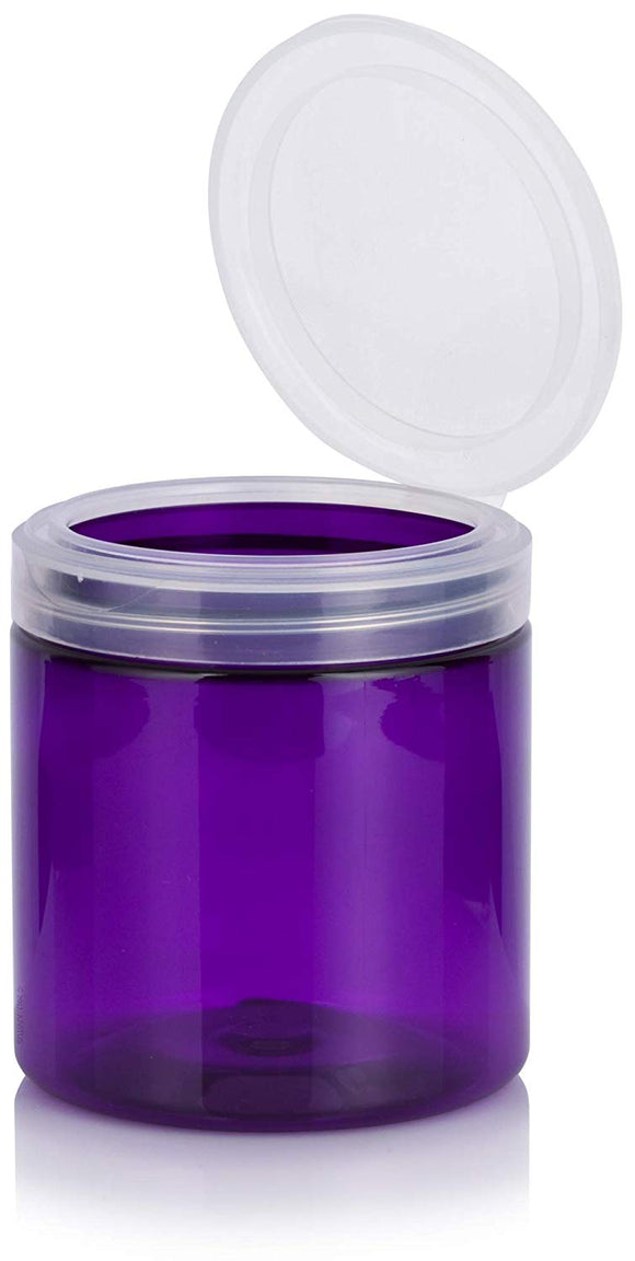 Purple Plastic Jar with Natural Clear Flip Top - 8 oz / 250 ml