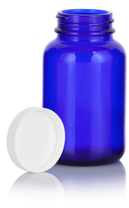 Cobalt Blue Glass Packer Bottle with White Ribbed Lid - 4 oz / 120 ml