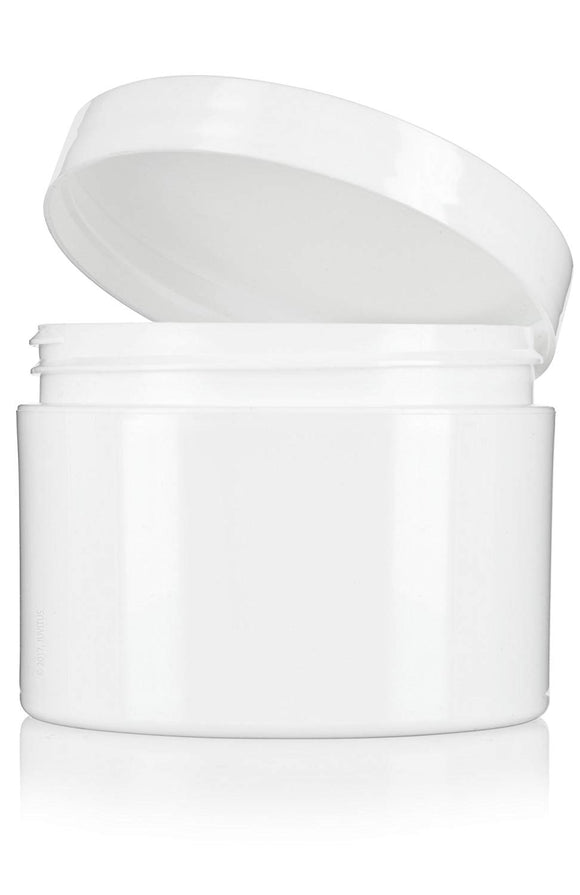 Plastic Double Wall Jar in White with White Foam Lined Lid - 8 oz / 240 ml