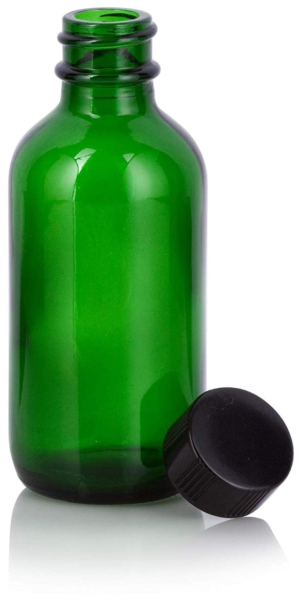 Green Glass Boston Round Bottle with Black Phenolic Cap - 2 oz / 60 ml