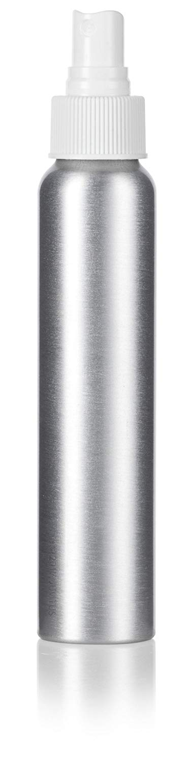 Silver Metal Aluminum Bottle with White Fine Mist Spray - 4 oz / 120 ml