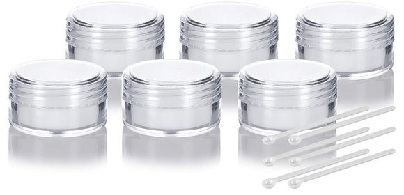 5 mL Polystyrene Concentrate Container Lined With White Silicone Insert + Mini Scoop (6 Pack)