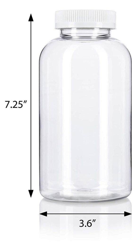 Clear Plastic Wide Mouth Packer Bottle with Child Resistant White Push and Turn Lid - 32 oz / 950