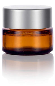 Glass Balm Jar in Amber with Silver Metal Foam Lined Lid - .17 oz / 5 ml
