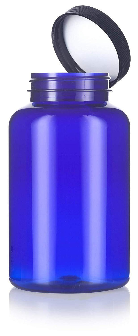Cobalt Blue Plastic Wide Mouth Packer Bottle with Black Ribbed Lid - 17 oz / 500 ml