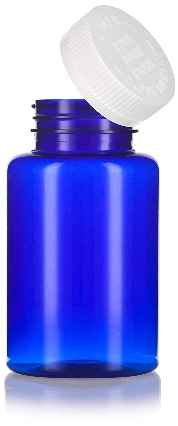Plastic Wide Mouth Packer Bottle in Cobalt Blue with Child Resistant White Push and Turn Lid - 8 oz / 250 ml