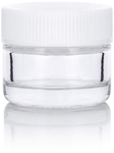 Glass Balm Jar in Clear with White Ribbed Foam Lined Lid - .17 oz / 5 ml