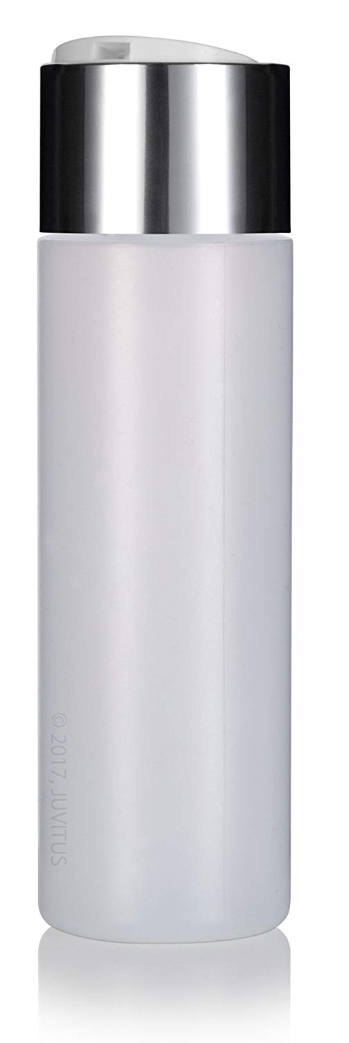 Plastic Professional Cylinder Bottle in Natural Clear with Wide Silver Disc Cap - 8 oz / 250 ml