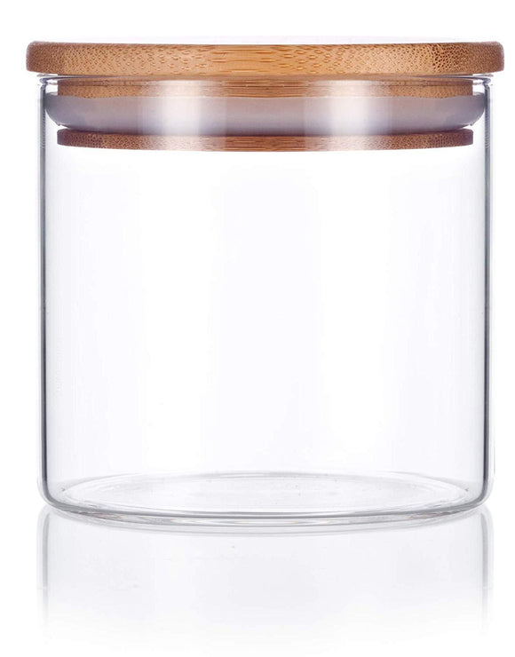 Glass Borosilicate Jar in Clear with Bamboo Silicone Sealed Lid - 10 oz / 300 ml