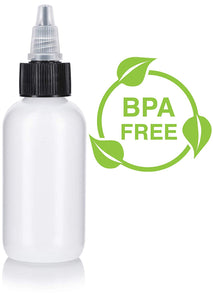 Natural Clear Plastic Squeeze LDPE Bottle with Black Twist Top Spout - 2 oz / 60 ml