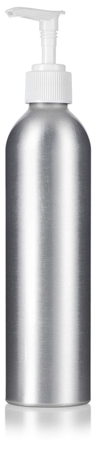 Metal Aluminum Bottle in Silver with White Lotion Pump - 8 oz / 250 ml