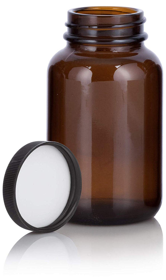 Amber Glass Packer Bottle with Black Ribbed Lid - 4 oz / 120 ml