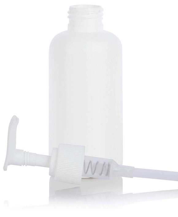 White HDPE Plastic Boston Round Bottle with White Lotion Pump - 4 oz / 120 ml