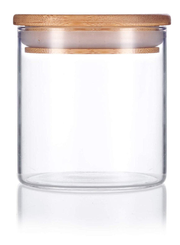 Glass Borosilicate Jar in Clear with Bamboo Silicone Sealed Lid - 8 oz / 240 ml