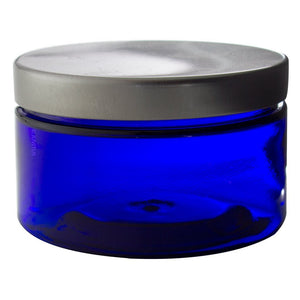 Plastic Low Profile Jar in Cobalt Blue with Silver Metal Foam Lined Lid - 4 oz / 120 ml - JUVITUS