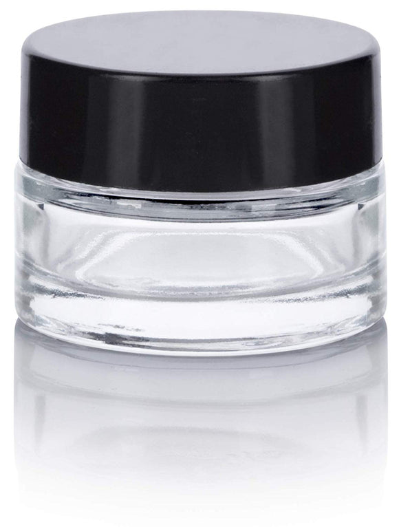 Glass Balm Jar in Clear with Black Foam Lined Lid - .25 oz / 7 ml