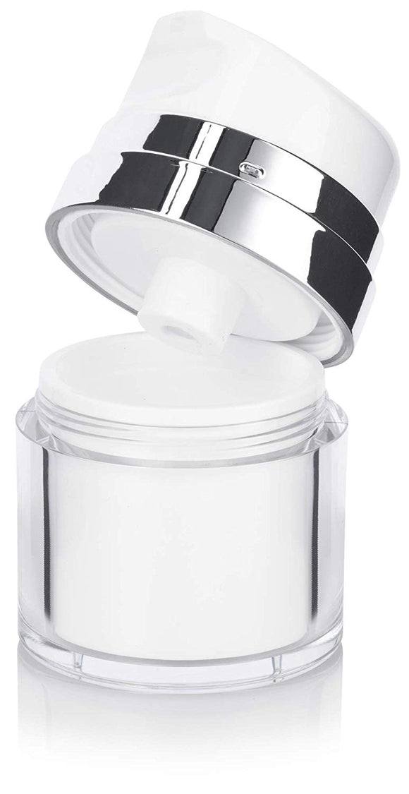 Refillable Airless Pump Jar in White and Silver - .5 oz / 15 ml