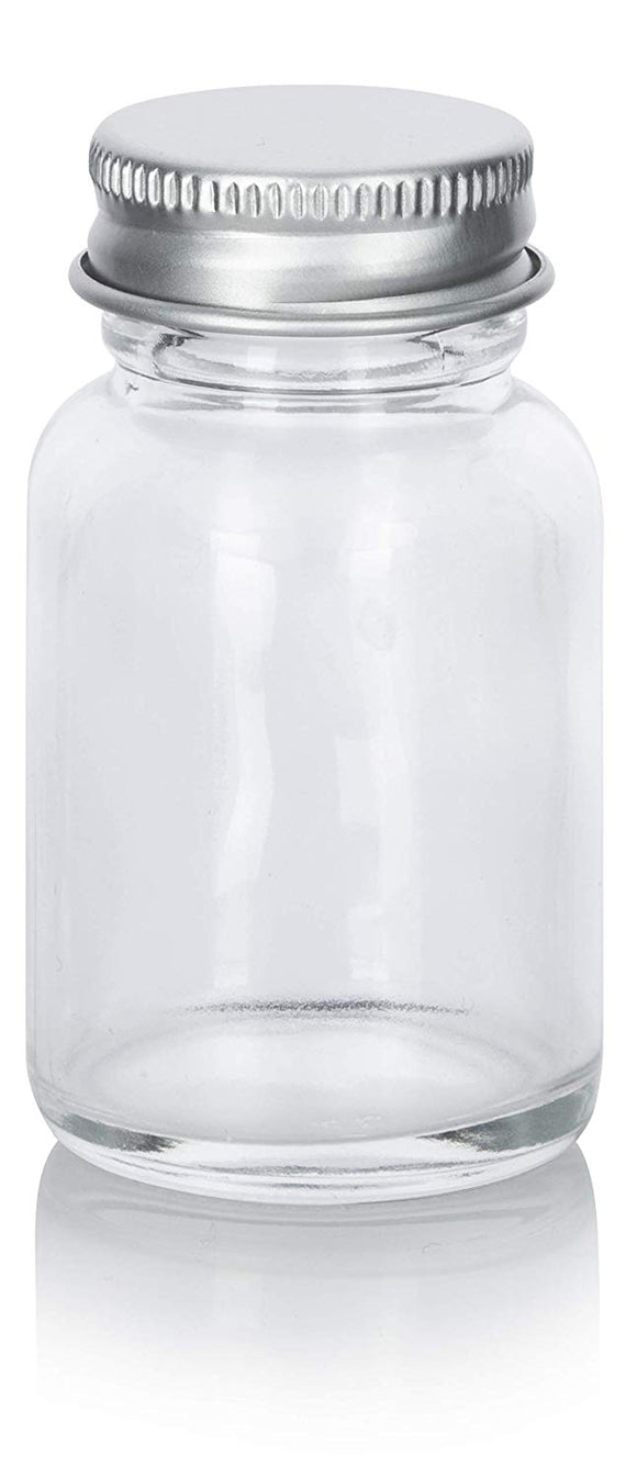 Clear Glass Wide Mouth Screw Bottle with Silver Metal Cap - 1 oz / 30 ml