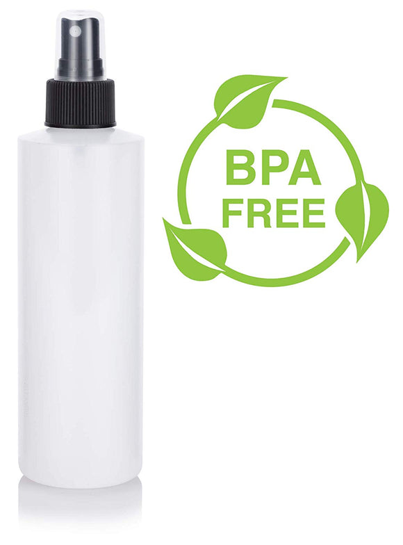 Natural Clear Plastic Squeeze Bottle with Black Fine Mist Spray - 8 oz / 240 ml