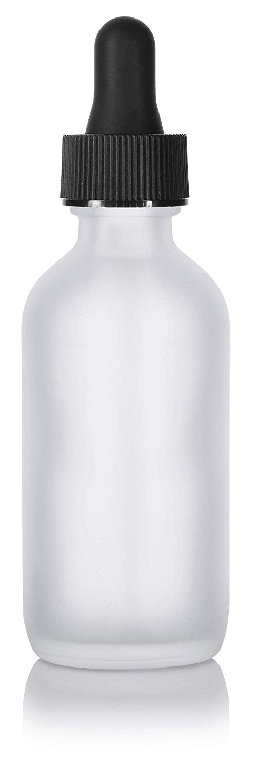 Frosted Clear Glass Boston Round Dropper Bottle with Graduated Measurement Glass Black Top - 2 oz / 60 ml - JUVITUS