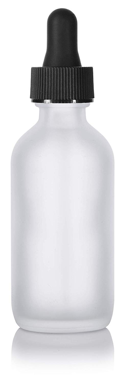 Frosted Clear Glass Boston Round Dropper Bottle with Graduated Measurement Glass Black Top - 2 oz / 60 ml