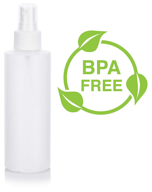 Natural Clear Plastic Squeeze Bottle with White Fine Mist Spray - 6 oz / 180 ml