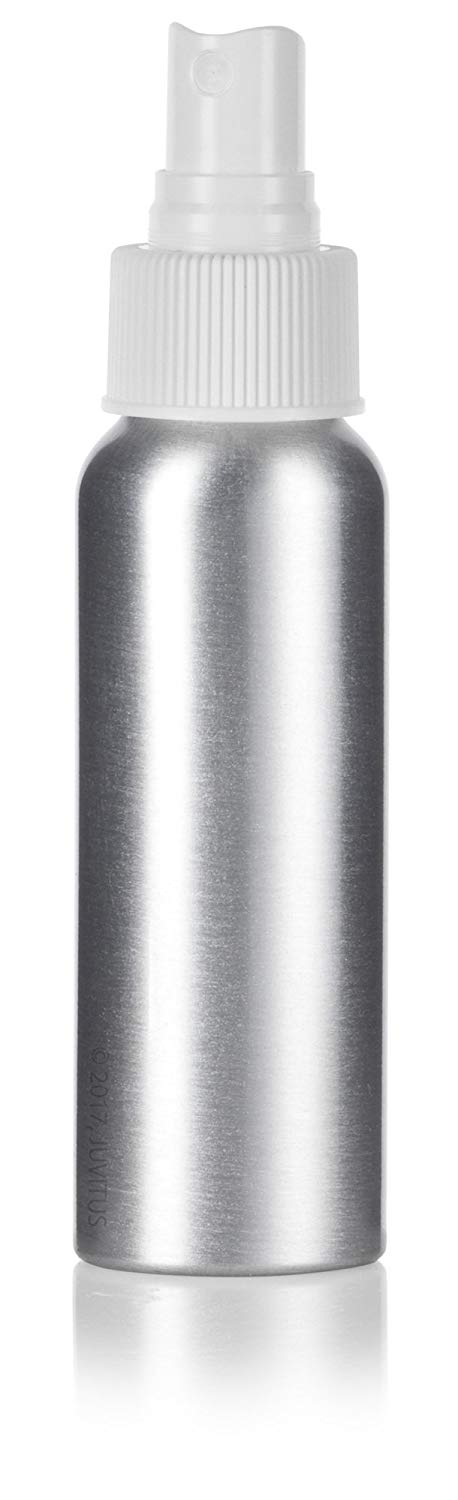 Silver Metal Aluminum Bottle with White Fine Mist Spray - 2.7 oz / 80 ml