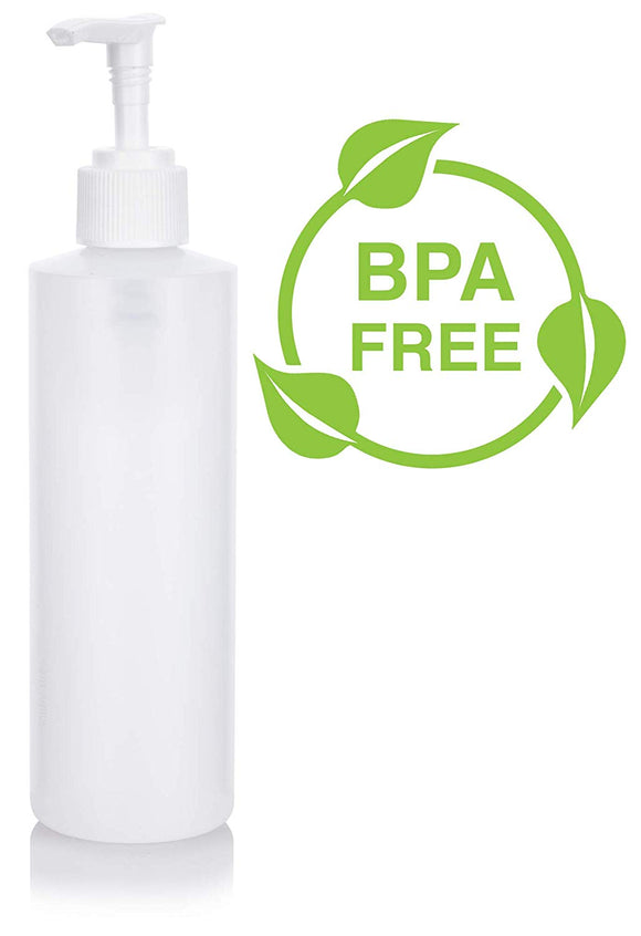 Natural Clear Plastic Squeeze Bottle with White Lotion Pump - 8 oz / 240 ml