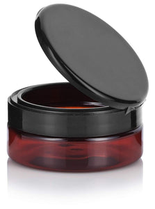 Plastic Extra Low Profile Jar in Amber with Black Flip Top Cap - 4 oz / 120 ml