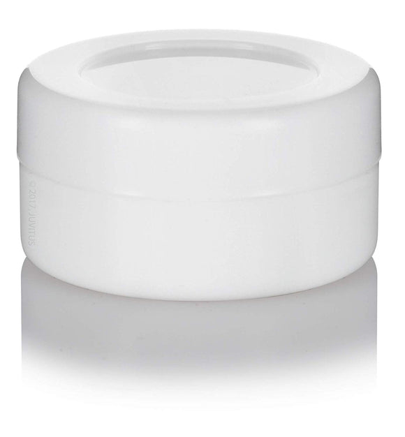 Silicone Concentrate Container in White with White Silicone Cap - .17 oz / 5 ml Mini Scoop
