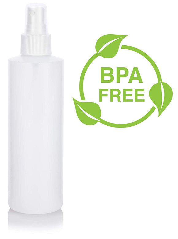 Natural Clear Plastic Squeeze Bottle with White Fine Mist Spray - 8 oz / 240 ml