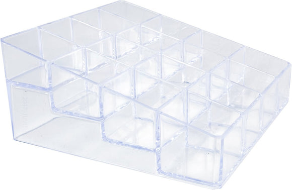 Clear Plastic 16 Compartment Storage Case Organizer for Lipticks, Makeup, and Cosmetics