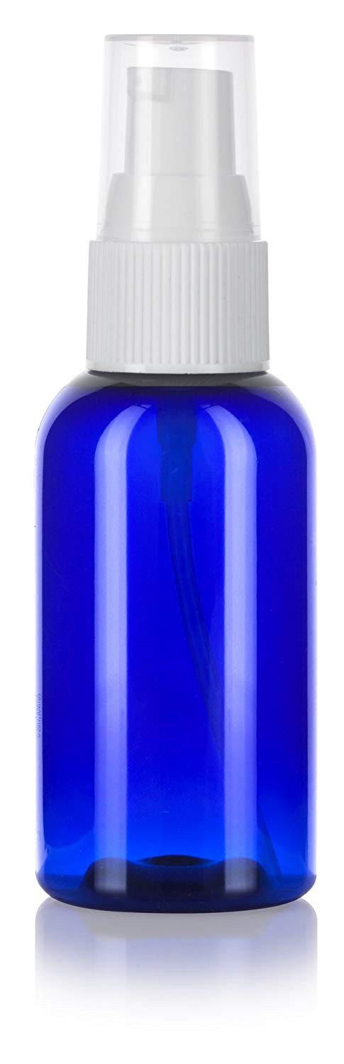 Cobalt Blue Plastic Boston Round Treatment Pump Bottle with White Top - 2 oz / 60 ml