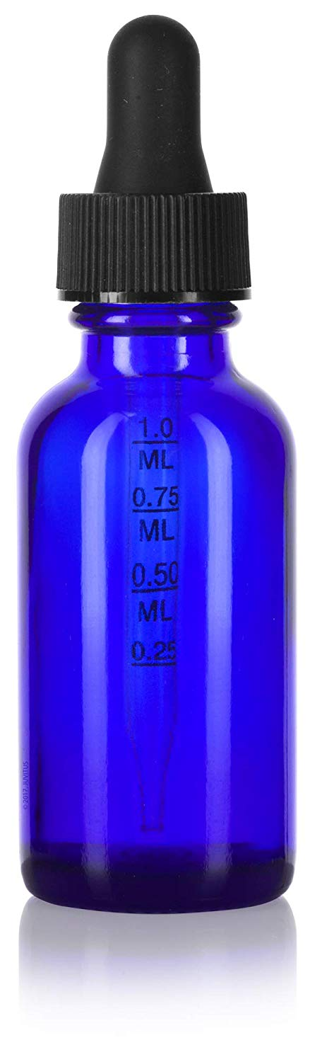 Cobalt Blue Glass Boston Round Dropper Bottle with Graduated Measurement Glass Black Top - 1 oz / 30 ml