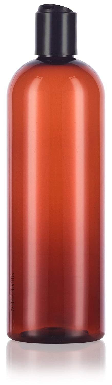 Plastic Slim Cosmo Bottle in Amber with Black Disc Cap - 16 oz / 500 ml