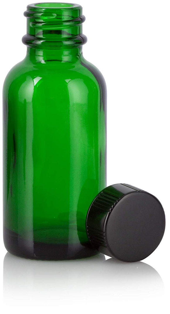 Green Glass Boston Round Bottle with Black Phenolic Cap - 1 oz / 30 ml