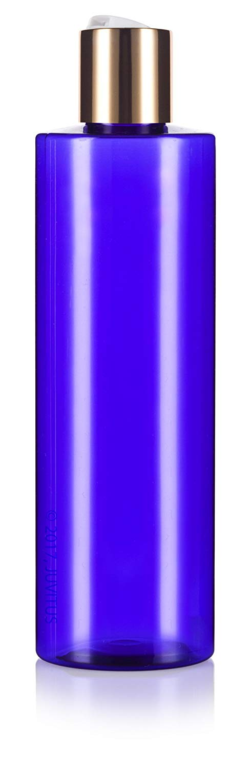 Cobalt Blue Plastic Professional Cylinder Bottle with Gold Disc Cap - 8 oz / 250 ml