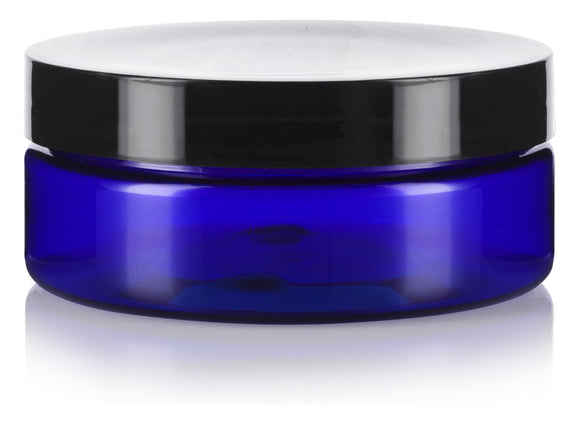 4 oz / 120 ml Cobalt Blue PET Plastic (BPA Free) Extra Low Profile Refillable Straight Sided Jar + Spatulas and Labels